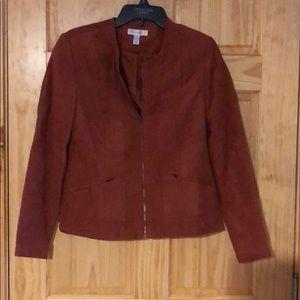 Dressbarn  zip faux suede jacket w pockets. Brown.